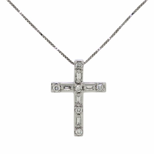Diamond Cross Pendant with 1/4 Carat Total Diamond Weight - Combination of Round and Baguette Diamonds set in 14 Karat White Gold - Diamond cross pendant necklace has an 18