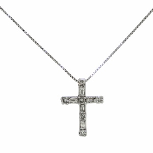 Diamond Cross Pendant with 1/7 Carat Total Diamond Weight - Combination of Round and Baguette Shape Diamonds are Set in 14 Karat White Gold - Diamond cross pendant necklace has an 18