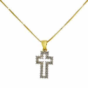 1/10 Carat Total Weight Diamond Cross Pendant With 18