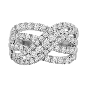 Diamond Ring 1.50 CTW in 14KT White Gold--Keep her breathless with this stunning 14 karat white gold infinity ring that boasts an incredible flowing design as well as a nice collection of divine diamonds set along the sides of the shank and a bunch of diamonds collect to crown the center stage of this ring, total weight adds up to 1.50 carat (ctw).