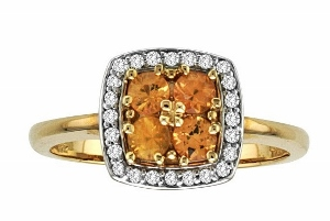 0.12 c.t.w Diamond and Yellow Sapphire Ring--This rich and feminine gemstone ring features a magnificent multi stone yellow sapphire set in gleaming 10 karat yellow gold. Delicate diamonds add an elegant finishing touch.