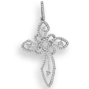 This classical and elegant Cross Diamond Pendant with 0.46 ct total weight diamond is set in lustrous 14k white gold with dazzling icy white diamonds. It dangles gorgeously from a white gold chain. Cross pendant always gives people positive energy and great sense of protection. It's the best jewelry for yourself and someone you love.