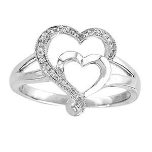 10K 0.15CT DIAMOND RING. Very cute double heart diamond promise ring. She will adore this ring. Featuring 0.15 ct Diamond in 10k White Gold.