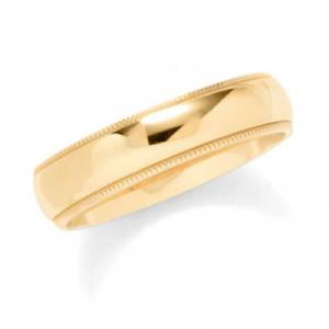 6mm Mens Milgrain Wedding Band -    Decorated with a lovely and detailed finish, this 14 karat yellow gold wedding band serves as the perfect offering as a pretext to a great and fulfilling union.