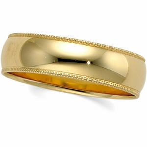 6mm Womens Milgrain Wedding Band   -                            Wonderfully smooth and shiny, this milgrain wedding band is molded out of flowing 14 karat yellow gold and features beautifully grooved edges.