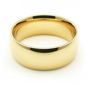 7mm Womens Wedding Band   -                      Simple and endearing, warm his heart forever with this loving 14 karat yellow gold wedding band destined to help perpetuate your love for him for a lifetime.