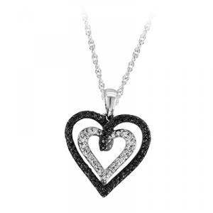 SILVER 1/20 Ct.tw Diamond Heart Pendant with 18