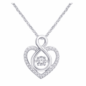 10K White Gold 1/6 Ct.tw. Diamond Heart Pendant With Matching 18