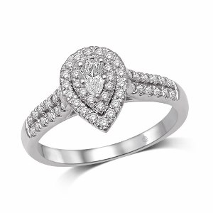 0.50 c.t.w Diamond Halo Engagement Ring with 0.22 c.t Pear Diamond Center in 14K White Gold