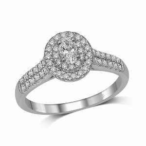 0.50 c.t.w Diamond Halo Engagement Ring with 0.22 c.t Oval Diamond Center in 14K White Gold