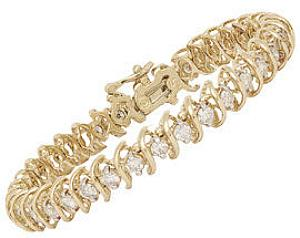 4 Carat Total Weight Diamond Swirl Tennis Bracelet.                                      -                                                       This spectacular tennis bracelet shimmers with four full carats of brilliant round diamonds. Gleaming 14 karat yellow gold provides a strong and secure setting for a glowing river of diamonds.