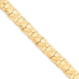 10 Karat Gold Nugget Bracelet - 8 Inches and 10MM  --                                                        Lavish 14 karat yellow gold nuggets on this lovely bracelet display that you can sport simply any time, anywhere.