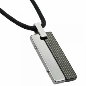 Rectangular Tungsten Carbide Pendant in Black PVD with Leather Necklace.Tow rectangles one in tungsten and one in black PVD come together to form this unique necklace for the man of style and appeal .  Tungsten carbide pendants are high-performance metals that are durable, comfortable and fashionable