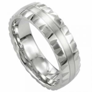 Titanium Ring -Titanium ring with beveled edge and stripe in the center.Created in Titanium, highly polished 6 mm band is slightly beveled with a comfortable fit. Titanium is extremely strong (3 times stronger than steel) yet lighter in weight. Commercial  grade 23  also highly dent and bend resistant.