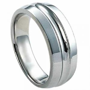 Titanium Ring - Titanium ring with cut out stripe in the center.Polished to a high gleam, this 7.5 mm titanium band is classic in style yet striking in construction and feel, a very lightweight metal that is approximately  three times stronger than steel , and the inside is contoured to fit his finger comfortably