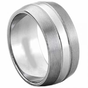 Titanium Ring -Titanium ring with matte finish and shiny stripe in the middle.Created in Titanium, highly polished  9 mm band is slightly rounded with a comfortable fit. Titanium is extremely strong (3 times stronger than steel) yet lighter in weight