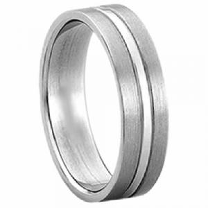 Titanium Ring - Titanium ring with shiny stripe in the center.To accompany your sweet vows, say,