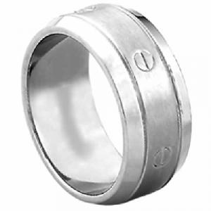 Titanium Ring -Very nice Titanium ring with Faux Screw Design.9mm grade 23 titanium is the high quality titanium band crafted in 9 mm width is the right piece for the man you can't wait to spend forever loving.