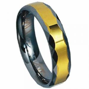 Tungsten Carbide Ring with gold stripe.This men's tungsten wedding band features a stylish design that combines both a polished finish and a satin heavy finish for textured contrast. The width  of the ring is 6.0 mm