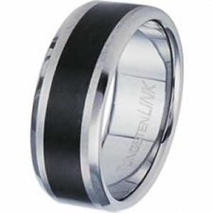 Gorgeous Tungsten Carbide Ring With Black PVD Stripe.