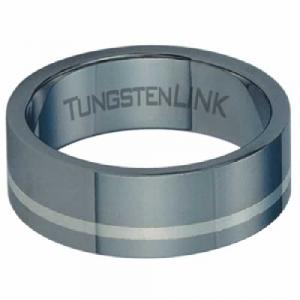 Tungsten Carbide Ring With Silver Inlay -Tungsten carbide is a true innovation in jewelry. Tungsten is virtually impossible to scratch and is much heavier and denser than gold.. Designed for a modern man on the go and created from high-performance metals that are durable, comfortable and fashionable.
