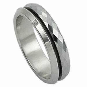 Tungsten Ring  -Spinning Tungsten rings with small CZ encrusted on it.Your love together survives life's trials and demands to reign victorious each time. Let him know how much you cherish him with a band symbolizing forever love. This 6.0 mm tungsten  carbide is a true innovation in jewelry. Tungsten is virtually impossible to scratch and is much heavier and denser than gold are created from high-performance metals that are durable, comfortable and fashionable
