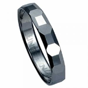 Diamond-cut Tungsten Carbide Ring - In honor of your wedding, he'll love a uniquely designed 3.5 mm tungsten carbide ring . Uneven facets across the top provide this ring with distinctive texture. The inside of the band's shank is rounded for comfort. Tungsten carbide is a true innovation in jewelry
