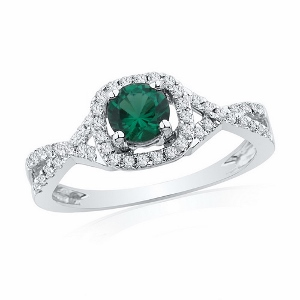 0.20 c.t.w Diamond and 0.50 c.t Lab Created Emerald Ring in 10 Karat White Gold