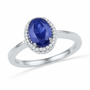 1.20CTW LAB CREATED BLUE SAPPHIRE RING