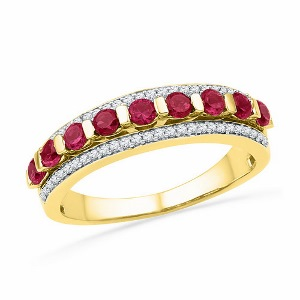0.20 c.t.w Diamond Band with 0.87 c.t Lab Created Ruby in 10 Karat Yellow Gold