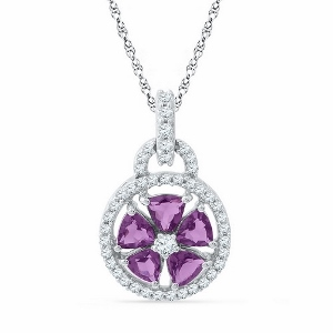 0.25CTW DIAMOND 1.25CT-AMETHYST PENDANT WITH MATCHING BOX CHAIN