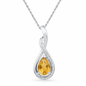 0.06 CTW Diamond and 1.10 CTW Citrine Pendant with matching White Gold 18