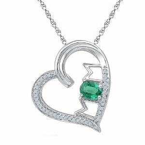 0.16 c.t.w Diamond Fashion Mom Pendant with Emerald in 10 Karat White Gold and Chain.