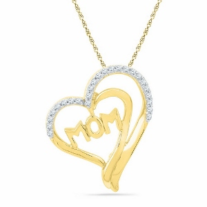 0.16 c.t.w Diamond Fashion Heart Mom Pendant 10 Karat Yellow Gold
