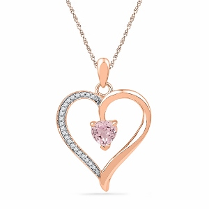 0.09 ctw Diamond and 0.58ctw Morganite Pendant with Matching 18 inch Box Chain.