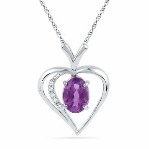 0.02 ctw Diamond with 0.75 ctw Amethyst Pendant with Matching White Gold Chain.