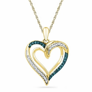 1/6 ctw Diamond Heart Fashion Pendant in 10Karat Yellow Gold With matching Chain.