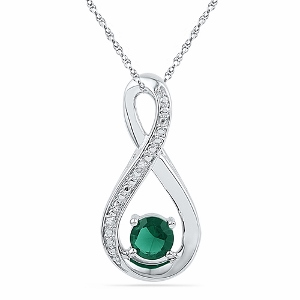 0.01 c.t.w Diamond and 0.50 Lab Created Emerald Pendant in 10 Karat White Gold with chain.