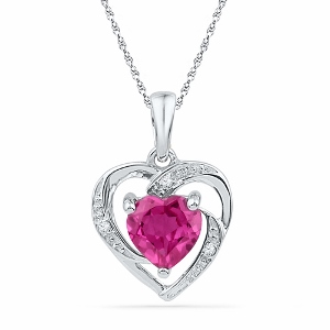 0.012CTW DIAMOND 1.10CT LAB CREATED PINK SAPPHIRE PENDANT WITH MATCHING CHAIN-Express your love in a vibrant and original way. With this amazing pink sapphire heart pendant, show her your adoration goes beyond the everyday.
