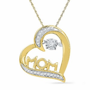 0.10 c.t.w Diamond Mom Pendant in 10 Karat Yellow Gold