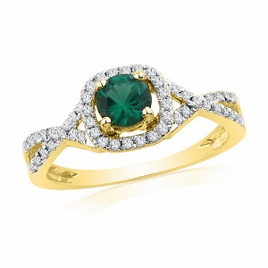 0.20 c.t Diamond and 0.50 c.t Lab Created Emerald Ring