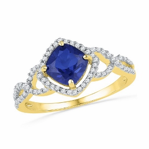 1.00CTW LAB CREATED BLUE SAPPHIRE RING