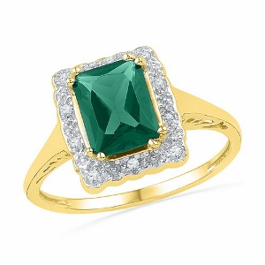0.20 c.t.w Diamond with 0.75 c.t.w Lab Created Emerald Ring in 10 Karat Yellow Gold