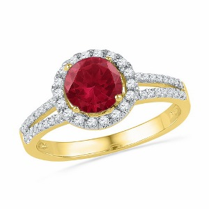 0.25 c.t.w Diamond Fashion Ring with 1.33 c.t Lab Created Ruby Ring in 10 Karat Yellow Gold