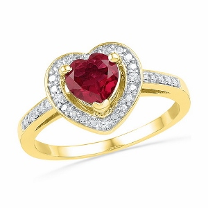 0.03 CTW Diamond and 1.10 CTW Lab Created Ruby Ring