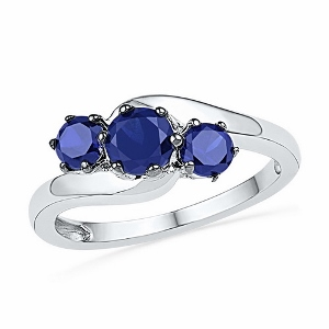 1.50CTW DIAMOND LAB CREATED BLUE SAPPHIRE RING.ONLY AVAILABLE IN SIZE 7