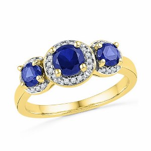0.10 c.t Diamond with 1.33 c.t Sapphire Ring in 10 Karat Yellow Gold