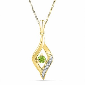 0.05 Diamond and 0.16 c.t Peridot Pendant in 10 Karat Yellow Gold
