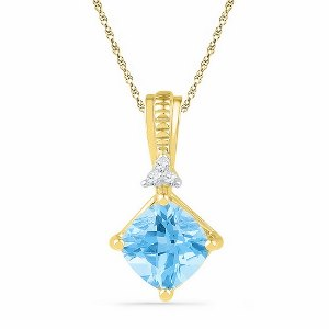 2.37 c.t Blue Topaz Pendant in 10 Karat Yellow Gold