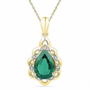 3.42CTW LAB CREATED EMERALD PENDANT WITH MATCHING 18
